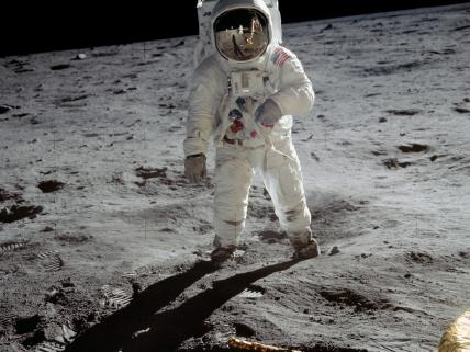 Buzz Aldrin on the surface of the moon, as photographed by Neil Armstrong.